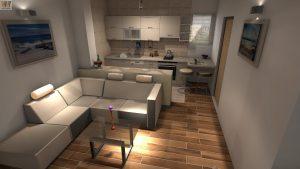 Obývací pokoj a kuchyň v jednom